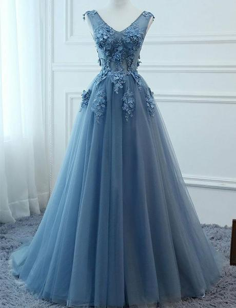 Blue Prom Dresses V Neck Appliques Open Back Evening Dresses with 3D flowers