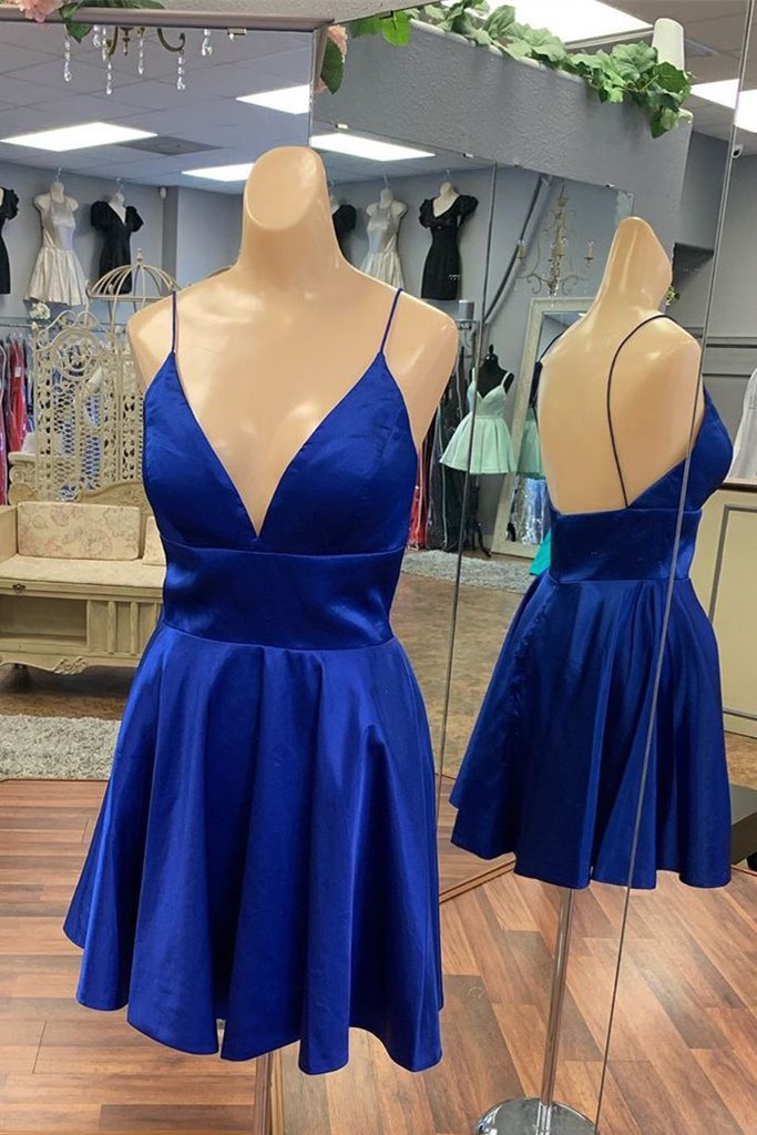 Spaghetti Straps Short Backless Homecoming Dresses Pretty Party Dress