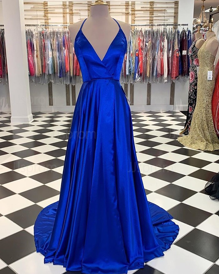 Simple Blue Satin Halter A-Line Long Prom Dress With Slit