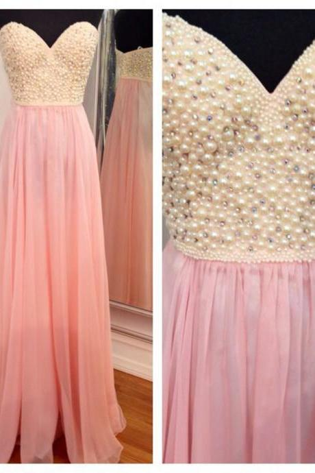 Modern Sweetheart Prom Dress, A-line Beading Evening Dress, Long Pink Prom Dress With Pearls,Party Dress,cheap Sexy Backless Prom Dresses,Beading Evening Dress, Prom Dress, formal dresses,Wedding guests dresses