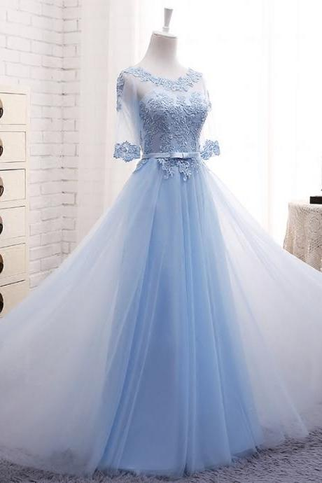 Light Blue Simple Tulle Bridesmaid Dress 2019, Beautiful Blue Prom Gowns