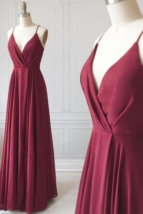 Burgundy Stretch Satin V Neck Long Prom Dress,Backless V Neck Evening Dress,Cheap Women Dress