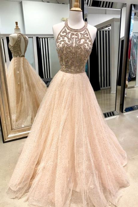 Champagne Stunning Halter Beaded Crystal Bodice Prom Dress,Tulle A-Line Formal Dresses