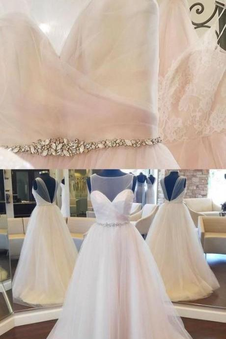 Charming Tulle Wedding Dress With Beaded Sash,Floor Length A Line Back Open Bridal Dress