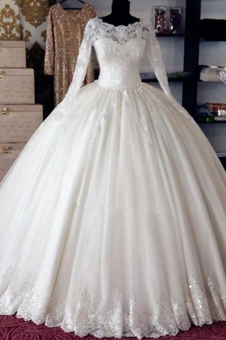 Elegant White Ball Gown Princess Wedding Dresses Custom Made Long Sleeve Women Puffy Wedding Gown