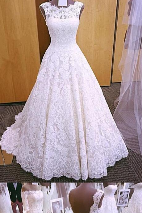 Vintage Cap Sleeves Open Back Lace Wedding Dresses Puffy Long White Bridal Gowns Real Pictures