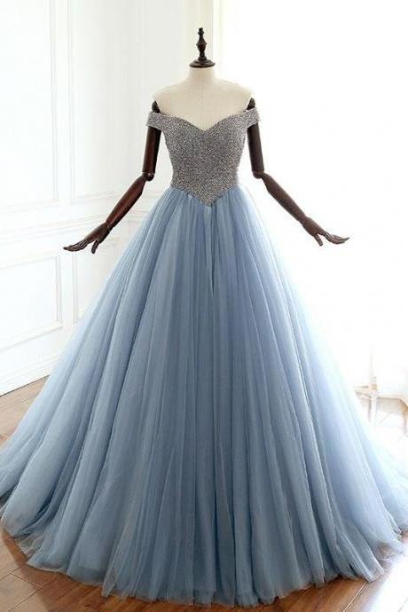 Stunning Dusty Blue Luxurious Beaded Prom Dresses,Long Tulle Evening Dress Real Pictures