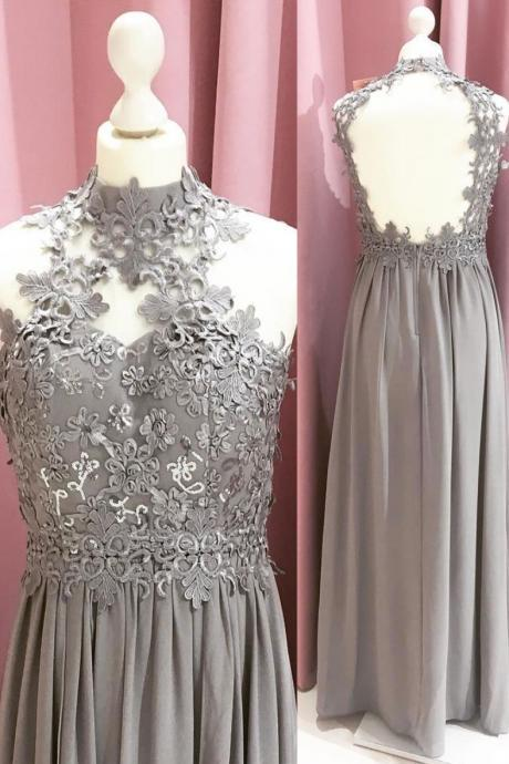 Elegant Grey Chiffon Lace Applique Prom Dresses,Sexy Backless Evening Gown