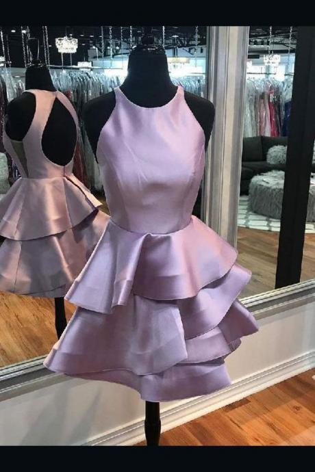 Simple Homecoming Dresses, A-line Halter Mini Satin Simple Open-Back Tiered Cocktail Dresses 2019