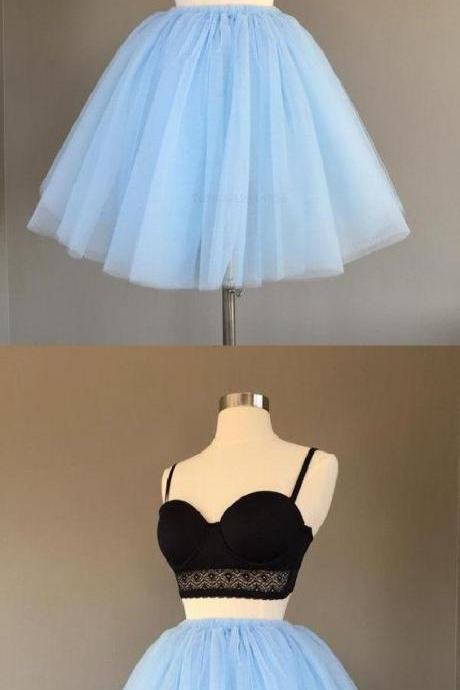 Two Pieces Blue Homecoming Dress A-line Simple Tulle Short Prom Dress