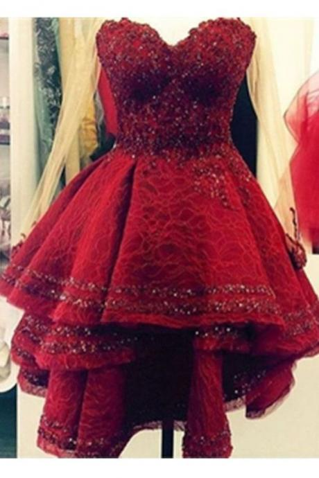 Burgundy Lace Sweetheart Handmade Homecoming Dresses Party Dresses,Gorgeous Formal Party Gowns