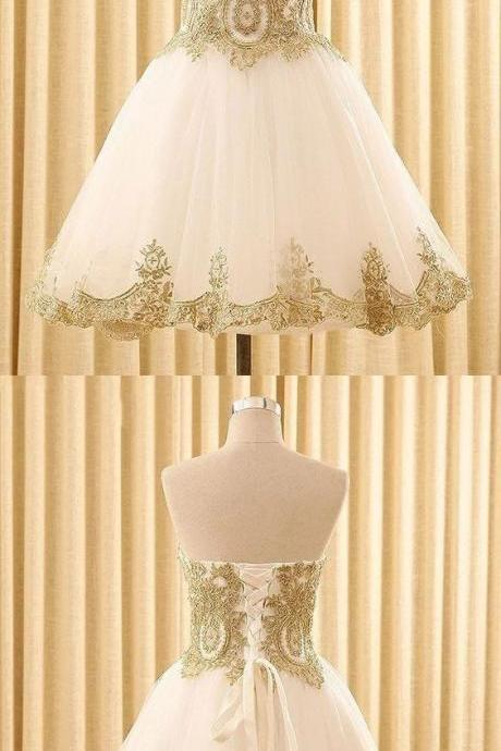 Luxury White Tulle Homecoming Dress,Gold Appliques Short Ball Gown,Strapless Corset Graduation Dress 2019