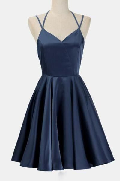 Navy Blue Short Simple Prom Dress,Junior Homecoming Dress,Simple Cocktail Dresses