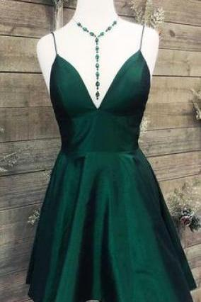Short Dark Green Prom Dress Homecoming Dress,2019 Simple Prom Dress With Spaghetti Straps