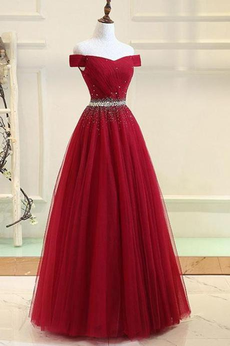 Elegant Long Prom Dresses with Crystal Belt,Sparkle Off the Shoulder Burgundy Tulle Party Dress