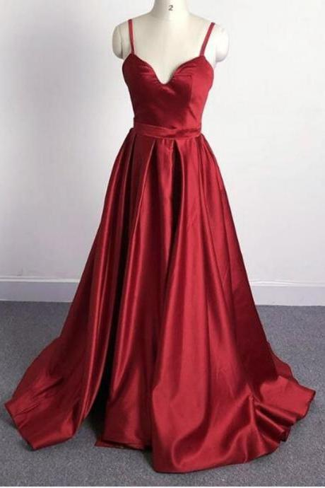 Burgundy A Line Satin Spaghetti Straps Women Long Evening Dresses with Slit,Women Formal Dresses