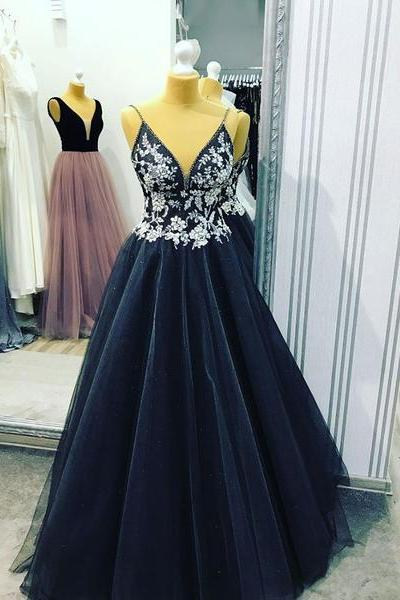 Black v neck tulle long prom dress,Spaghetti Straps evening dress with Lace