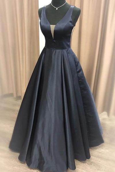 Simple A Line Navy Blue Prom Dresses Long,Simple A Line Satin Evening Dresses