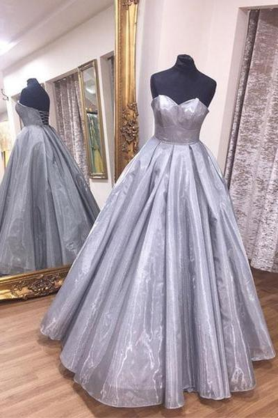 High Fashion Sweetheart Gray Prom Dresses Ball Gown Evening Dresses