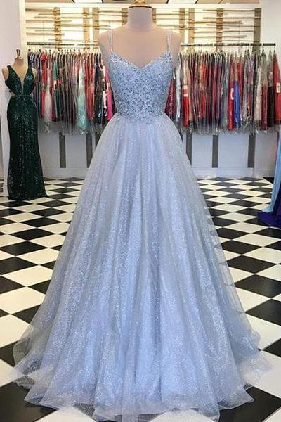 Light Blue Prom Dresses Spaghetti Straps Appliques Evening Party Dresses
