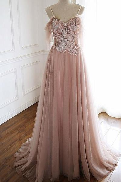 Pink Long Prom Dresses Spaghetti Straps Appliques Evening Party Dresses