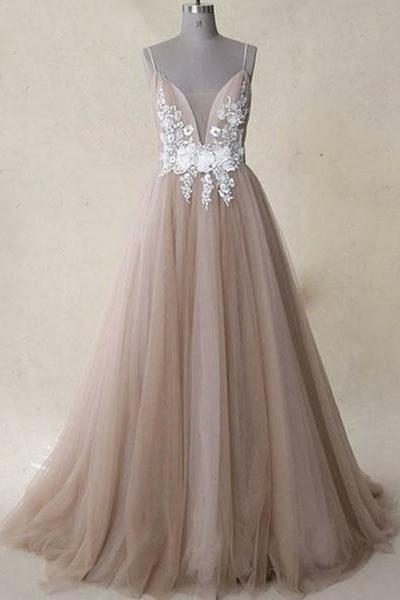 Spaghetti Straps Gray Long Prom Dresses Appliques Evening Dresses