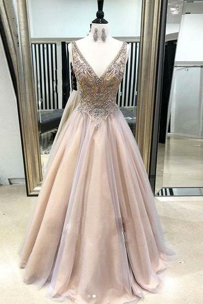 V Neck Champagne Long Prom Dresses Appliques Evening Party Dresses