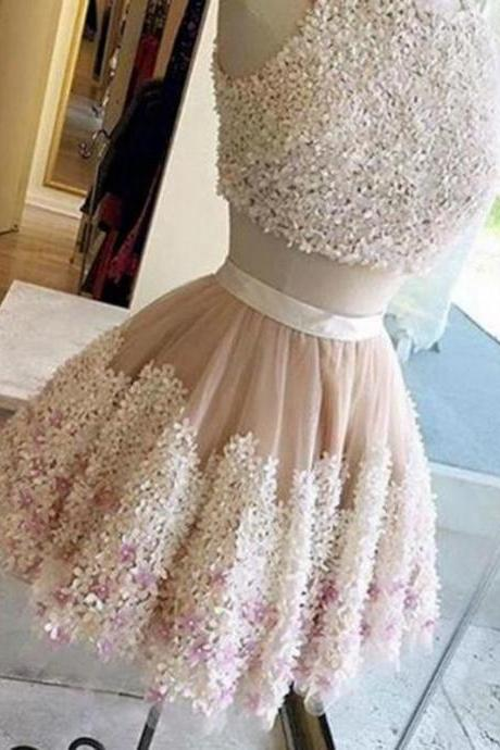 Prom Dress Short,Two Pieces Lace Prom Dress,Lace Applique Homecoming Dresses A-Line
