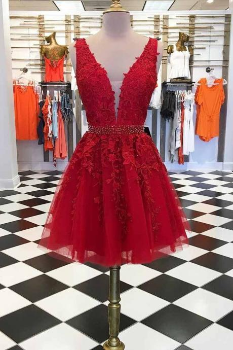 A-line V Neck Lace Red Short Prom Dresses Homecoming Dress