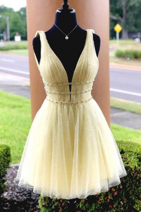 Yellow Sparkly Beading Short Prom Dresses Sequins Homecoming Dress