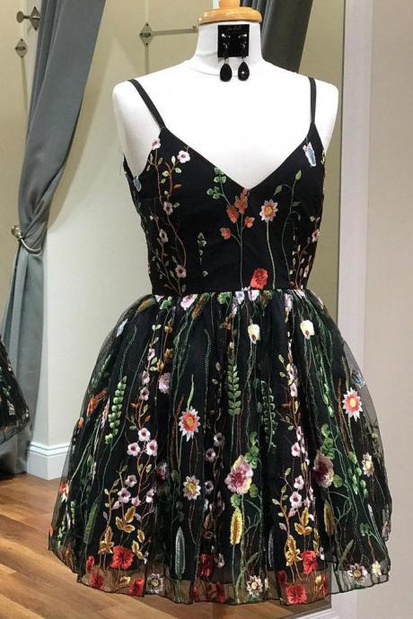 Spaghetti-straps Black Short Prom Dress,Homecoming Dress With Floral Embroidery