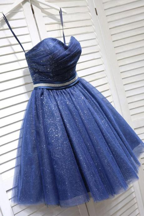 Glitter Sweetheart Blue Short Prom Homecoming Dress With Beading