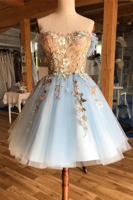 Pretty Lace Up Appliques Short Prom Dress Cute Light Blue Homecoming Dress