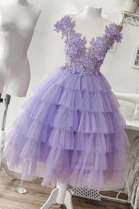 A-line Applique Lilac Tulle Short Homecoming Dress With Layered