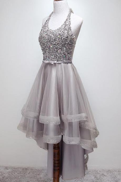 Sparkly Halter High-Low Sequins Prom Dress Tulle Homecoming Dress