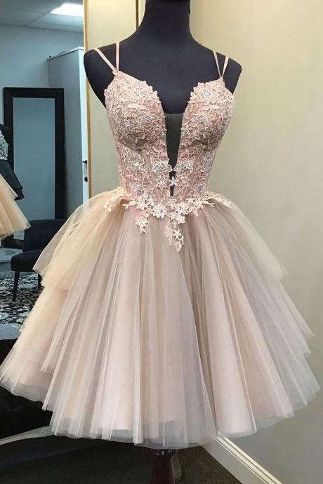 Elegant Short Spaghetti Straps Backless Lace Tulle Homecoming Dresses For Teens