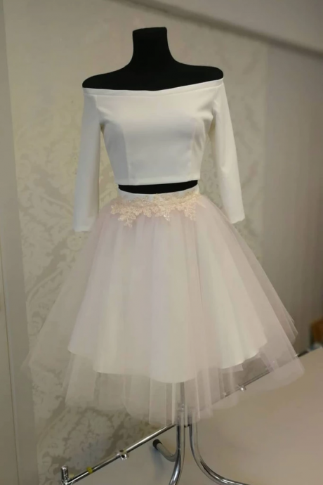 3/4 Sleeve Two Pieces Short Prom Dress Ivory Homecoming Dress,Cocktail Dresses