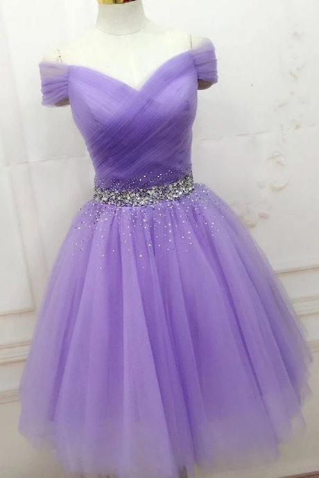 A-line Cap Sleeve Beaded Short Prom Dress Lilac Homecoming Dress