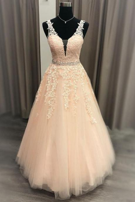 Lace Applique Pink Tulle V-Neck Prom Dress With Beading Belt