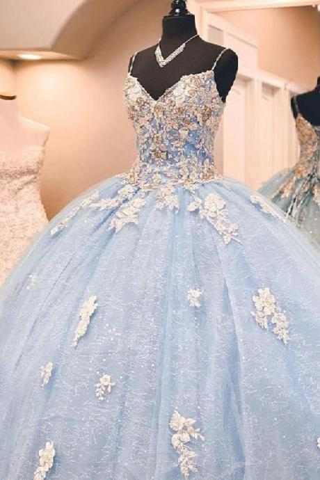 Pretty Ball Gown Sky Blue Shiny Lace Quinceanera Dresses Open Back Formal Prom Sweet 16