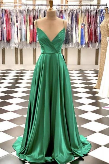 Simple Green satin long prom dresses Back Open a line evening dress