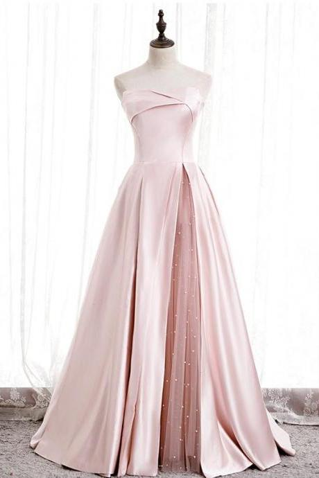 Real Picture Pink satin long prom dress Corset Women evening dress with Pearls