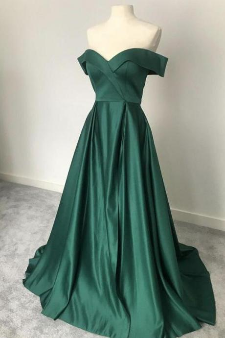Cheap Green satin long prom dress off shoulder sweep train simple evening dress