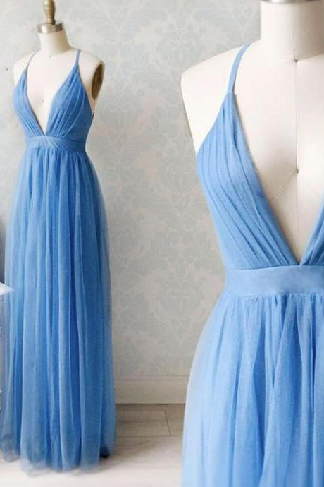 Sexy Backless Blue v neck tulle long prom dresses evening dress