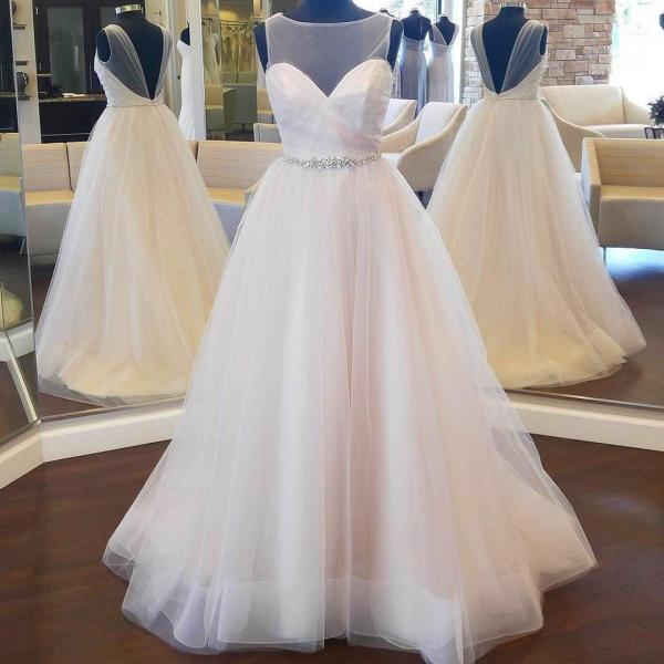 Elegant Puffy Wedding Dress With Beaded Band,Simple Ball Gown Wedding Dresses Custom Size