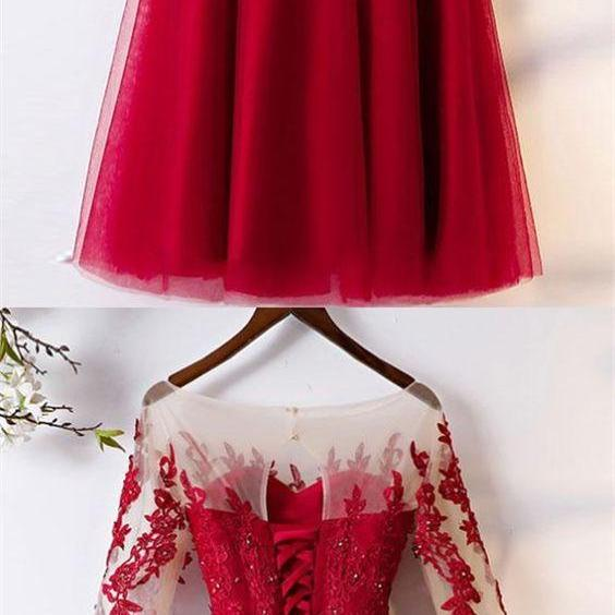 Red Prom Dress,Tea Length Evening Dress,Cheap Wedding Party Dress