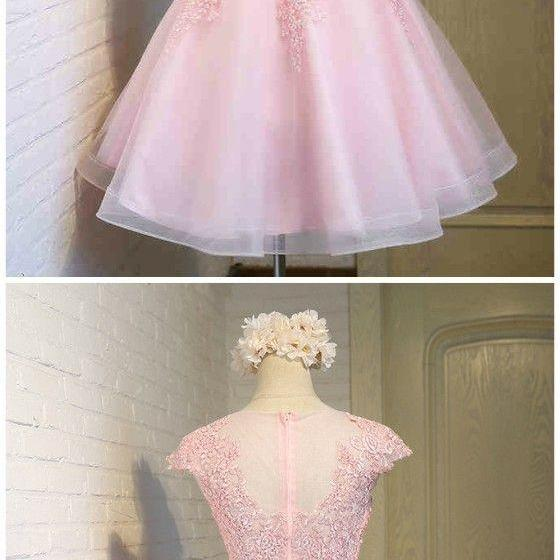 Pink Tulle Lace Prom Dresses, Lovely Formal Dresses For Teens,Cap Sleeves Party Dresses