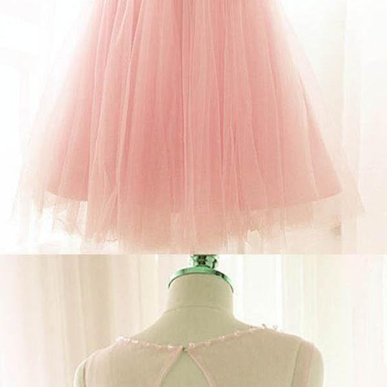 Pink Short Prom Dresses Tulle Party Dresses Pink Homecoming Dresses