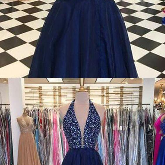 Shinning Sequins V Neck Navy Blue Tulle Backless Long Prom Dresses,Backless A Line Evening Gowns