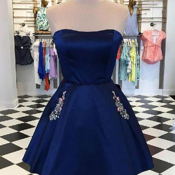 Short Prom Dress,Strapless Dark Blue Short Prom Dress,Sleeveless Mini Homecoming Dress with Pockets